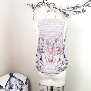 BKE // Taupe Crochet & Fringe Feather Print Vest